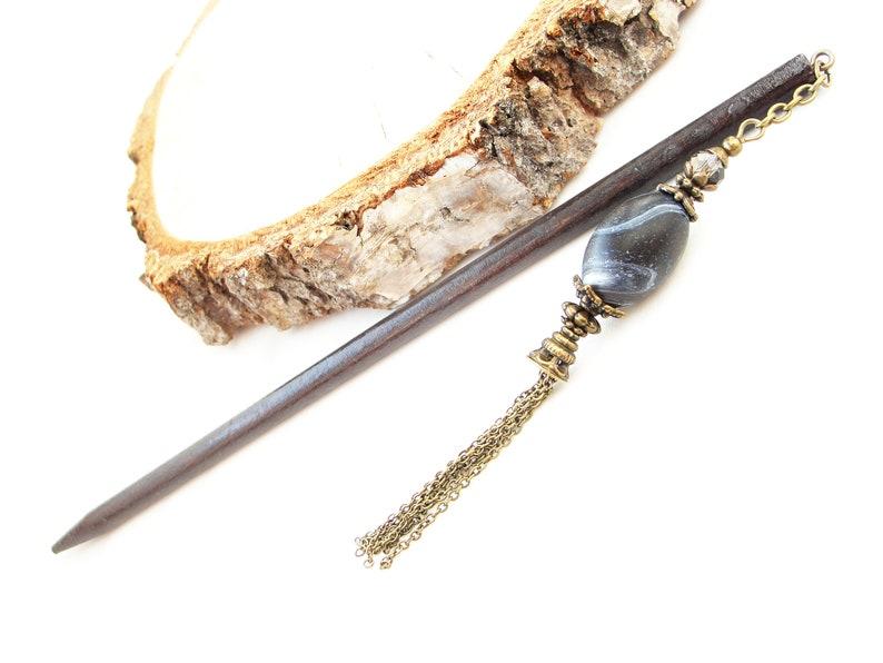 Hair stick black white kanzashi wood hair bun pin hair decoration hair pick wooden chopstick asian hair piece orient jewellery gift idea