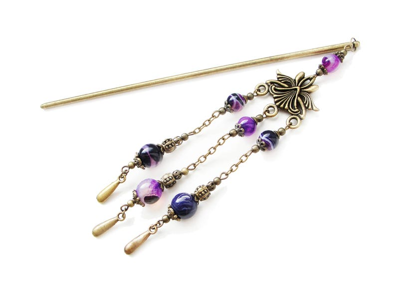chandelier hair fork long chained hairpin hair chopstick purple hair ornament festival decoration bronze Metal hair stick with purple agate