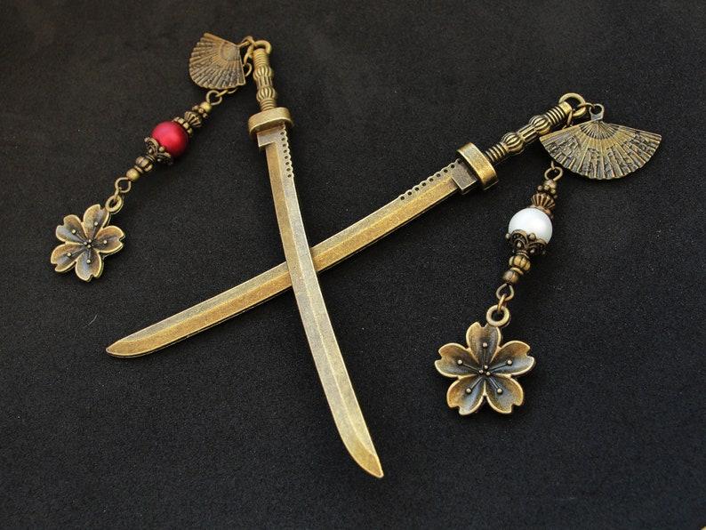 sakura kanzashi japan fan pins hair chopsticks asian festival orient katana gift Single or set Japanese hair sticks with cherry blossoms