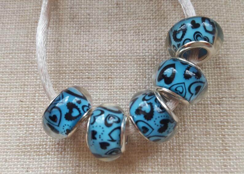 50aa2b83993c Corazón azul abalorios x 5. Abalorios de Murano. Granos de la   Etsy