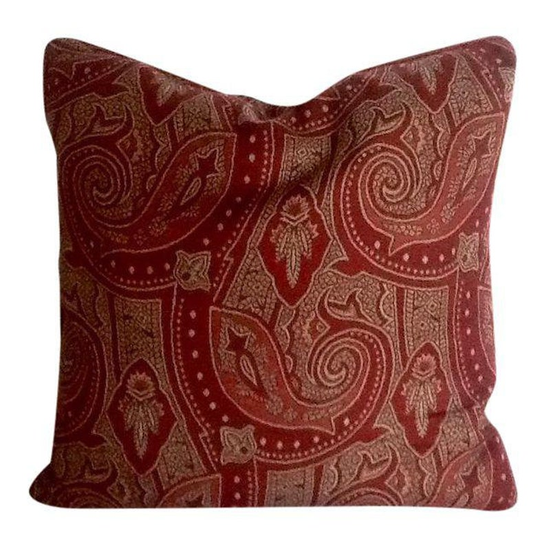 098ebd03 Vintage Red Paisley Eddie Bauer Accent Pillow. Throw Pillow. | Etsy