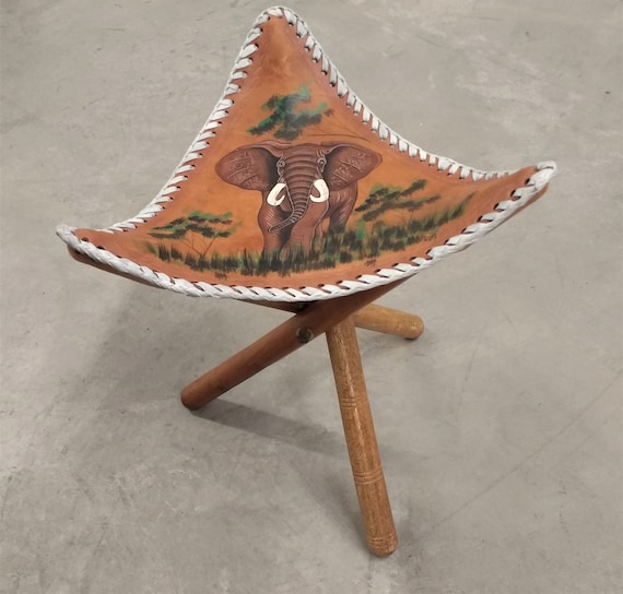 Sensational Vintage Hand Tooled Folding Leather Fishing Or Camping Stool Folding Stool Hand Painted Leather Seat Elephant Decor Ibusinesslaw Wood Chair Design Ideas Ibusinesslaworg