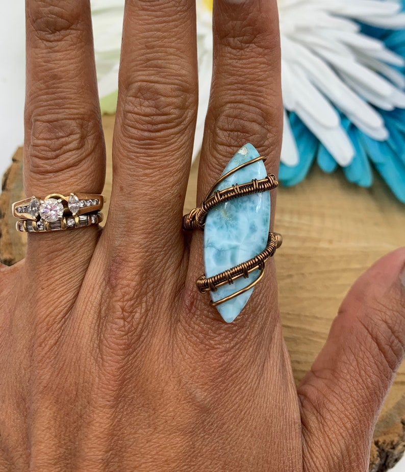 wire wrapped jewelry Larimar jewelry wire wrapped Larimar Larimar ring copper ring AprilsRealm