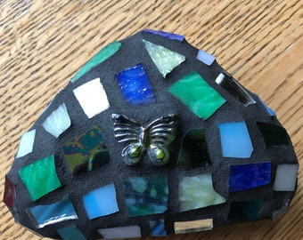 Mosaic rock with glass for garden or home decor.
