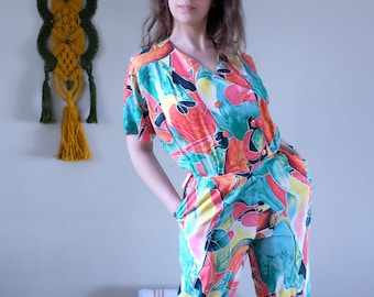 3fe35527c8 80s Jumpsuit 80s 90s Vintage colorful abstract jumpsuit short sleeves Romper  Pantsuit Play suit Street wear jumpsuit medium size M   019