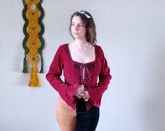 533a5aaff33b5 90s Festival corset Vintage burgundy red velveteen corset long trumpet  sleeve Pirate Folk Gothic jacket medium size M size   019