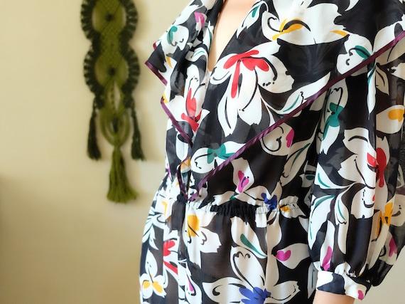 Italmodell BORELLI 70er Jahre Kleid 70er Jahre Vintage Kleid dunkel blau Floral Cocktail Party Sailor Kleid Transparent Sommerkleid große xlarge L