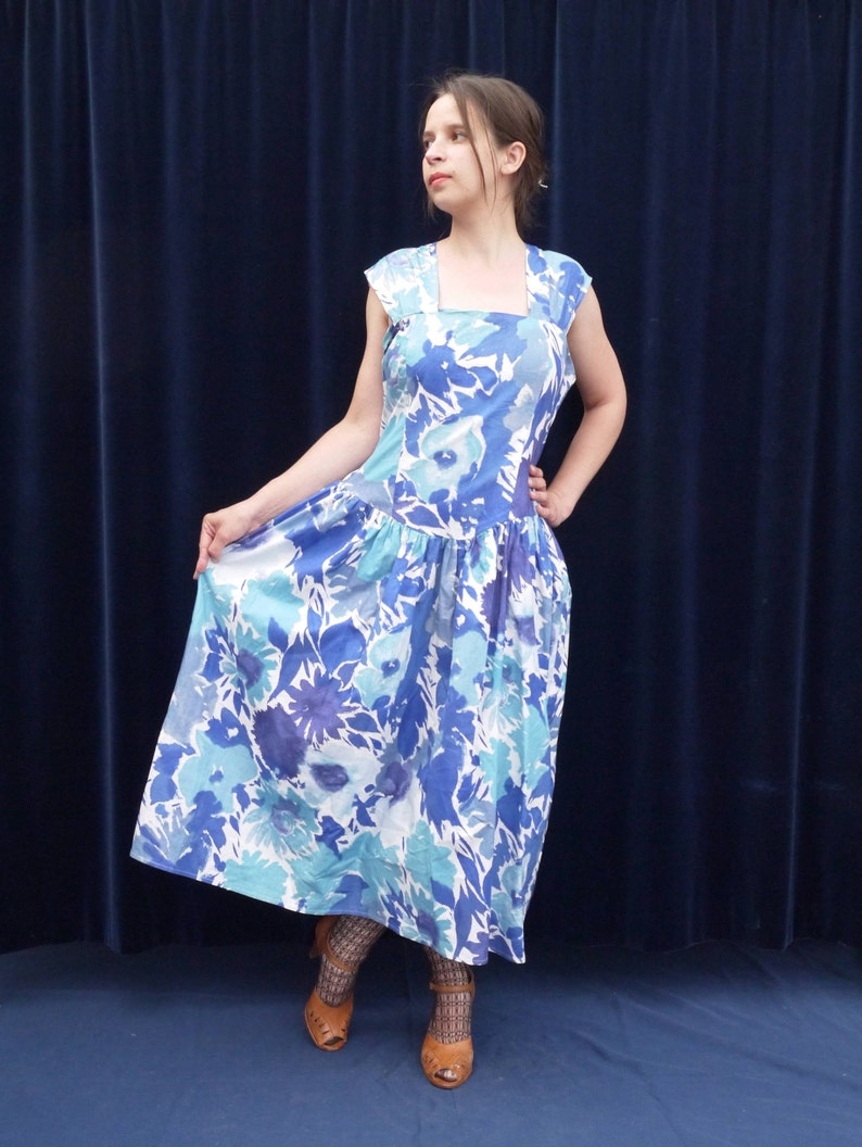 85f387f9f14 70s dress Pippa Dee 70s Vintage dress Blue floral print summer