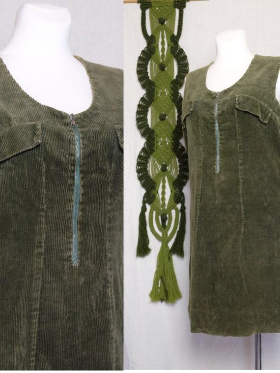 60s dress 60s 70s Vintage Corduroy moss green Slee