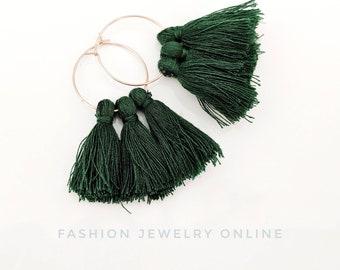 Emerald Dark green cotton tassel hoop semi circle rosegold wire dangle Boho Earrings  Stainless steel jewellery Gift for Her under 20