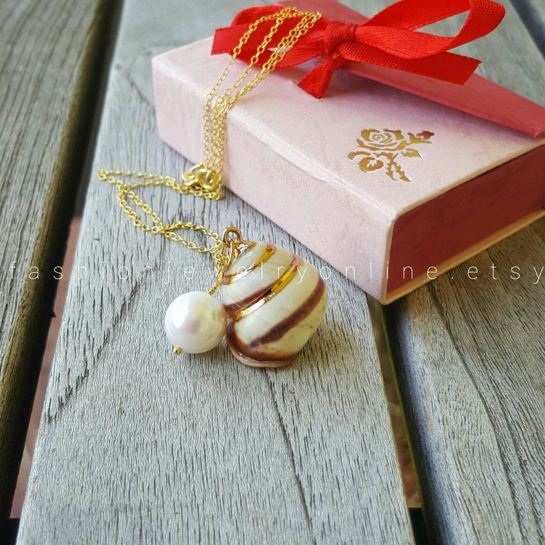 Gold Shell necklace Gifts for wife under 50 Beach wedding Pearl necklace Dainty Necklace Beach Jewellery