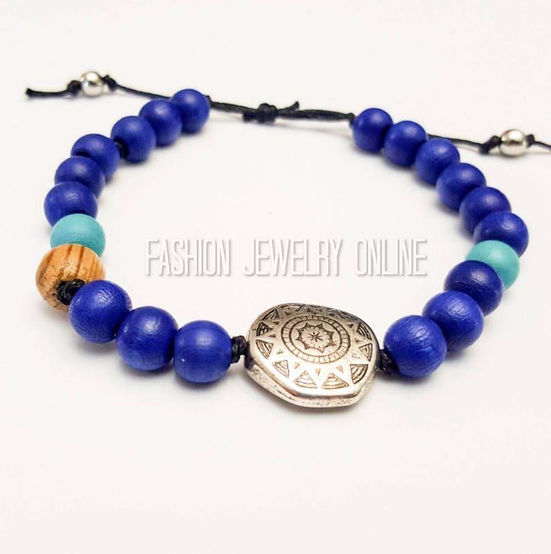 Bohemian jewellery Mandala blue Wood adjustable anklet Aromatherapy oil bracelet Girlfriend gifts under 20 mandala beaded bracelet