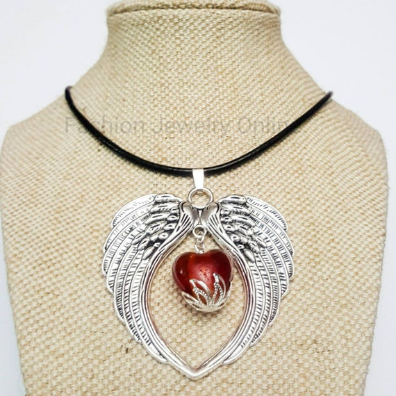 "Various Snake Foil Glass Pendants /& 18/"" Black Leatherette Cord Necklace."