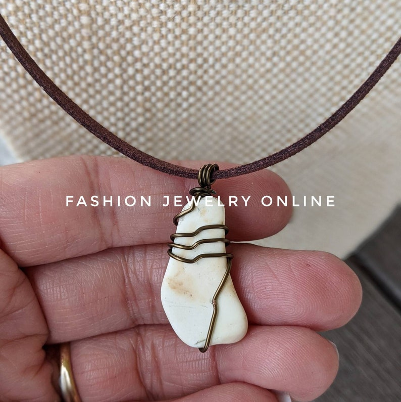 Double strands stacking beachy wire wrapped  white seaglass starfish bohemian faux suede necklace gifts for her under 20