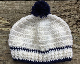 Crocheted White and Navy Blue Baby Sailor Hat with Pompom