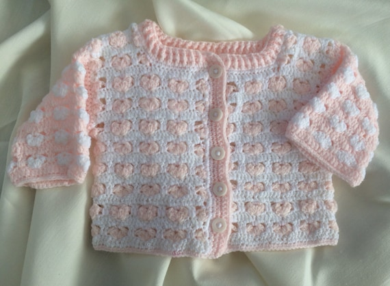 a6aafb044 Preemie Baby Cardigan. Crocheted Baby Girl Cardigan. Pink and