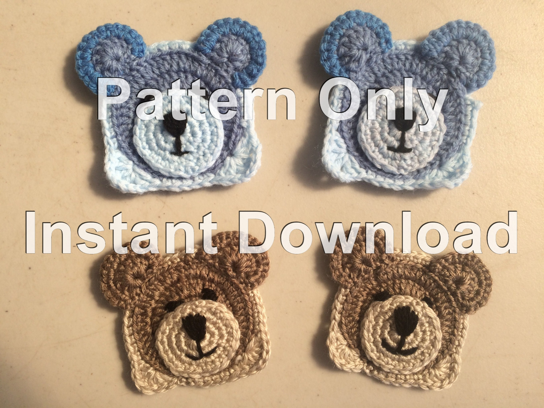 Teddy Bear Crochet Granny Square Pdf Instant Download Crochet Etsy
