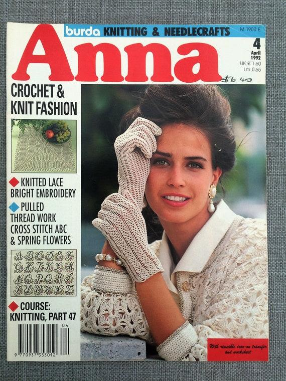 Anna Burda 1992 April Magazine Vintage English Language Etsy