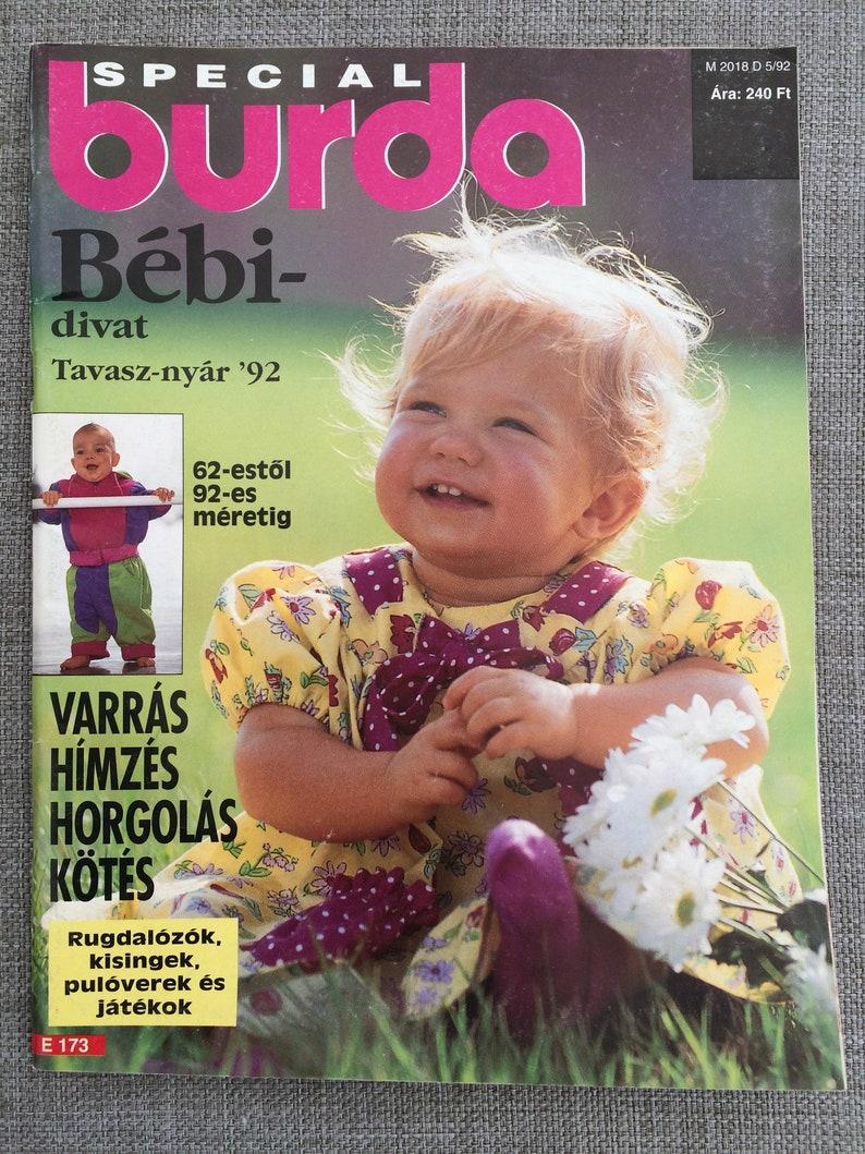 Baby Burda Magazine Vintage Unser Baby Hungarian (Magyar) Language Special  Baby Burda with knitting and sewing patterns 1992 Summer Edition