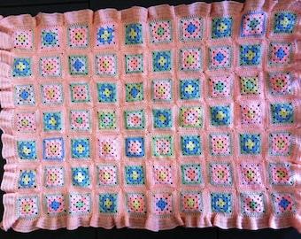 Vintage Style Pink Baby Afghan Granny Square Baby Blanket Handmade Crocheted Cot/Pram/Bassinette Blanket.