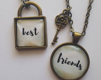 Best Friends Lock and Key Necklace Set, Antique Bronze, Brush Lettering, Friendship, Sisters, Matching Necklaces