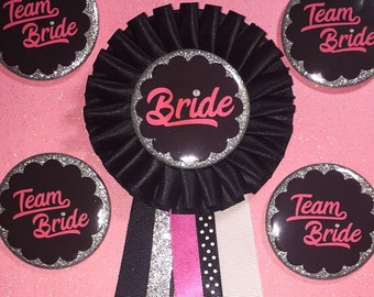 Bachelorette Party Buttons..Bridal Party..Bride Pin..Bachelorette Party .. Buttons can be added... Text and Color can be customized