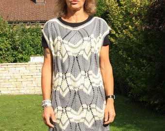 hand knitted wool tunic sweater