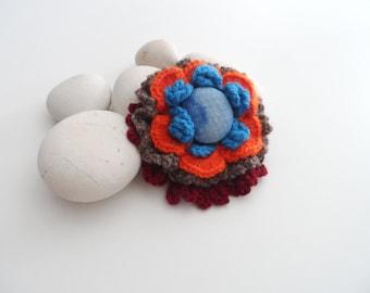 Flower Pin Brooch, Crochet Flower Brooch, Crochet Wool Boutonniere, Pin Crochet Flower, Vintage Brooch, Boho Flower Pin