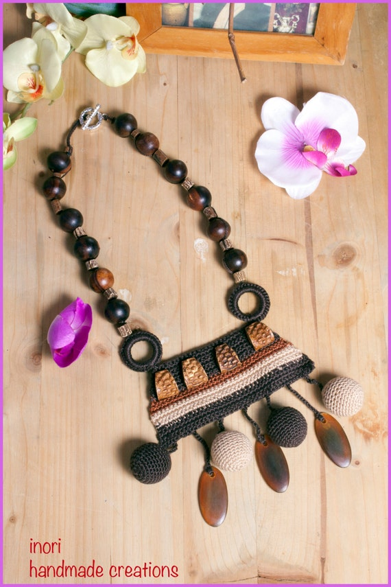 Brown bead necklace 30th birthday gift long brown necklace brown boho necklace
