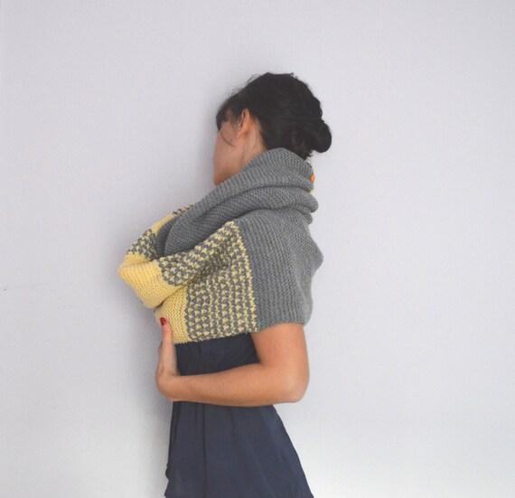 Capucha bufanda bufanda gris gran tamaño cálida bufanda con | Etsy