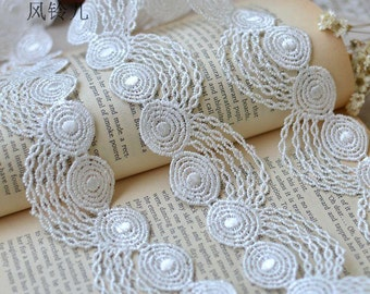 2 Yards Fabulous White Venice lace  Floral Embroidery Lace Trim 1.57 Inches Wide  YL383