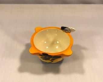 Vintage French Majolica Saint Jean Du Desert Locust Cicada Bug Bowl