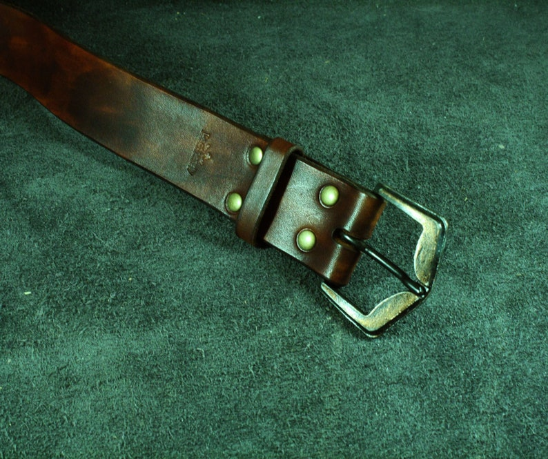 Custom made brown belt from vegetable tanned leather