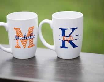 Chevron monogram mugs. Custom coffee mugs, personalized mugs with name. Couples gift, Christmas gift, Birthday gift idea, Engagement gift