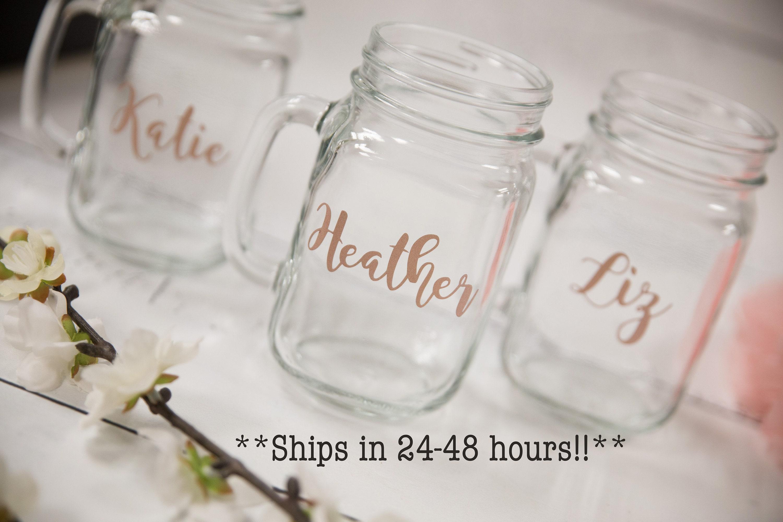Personalized Mason Jars Add Your Name Rose Gold 16 Ounce Mason Jar Glass Mug Custom Mason Jar Ships In 24 48 Hours Last Minute Gifts