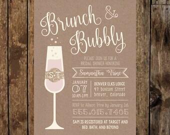 5 x 7 Printable Rustic BRUNCH & BUBBLY Bridal Shower Invitation. Bridal Shower Brunch. Champagne Brunch. Bridal Shower Invites. Chic Script.