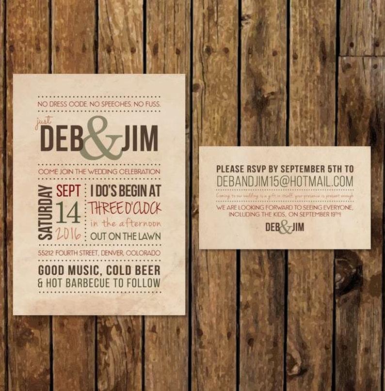 Diy Printable Backyard Bbq Wedding Invitation Casual Barbecue Etsy