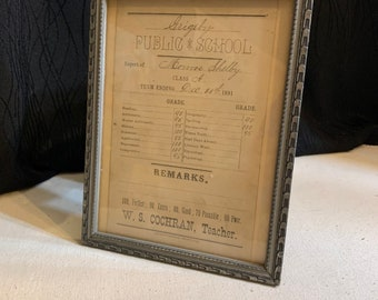 1898 /& 1899 The New Lexington Public Schools Ohio Report Card for Nial Flowers Antique Victorian Student Grades