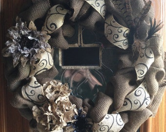 """18"""" Burlap Wreath (Chocolate Brown) with burlap flowers/feathers"""