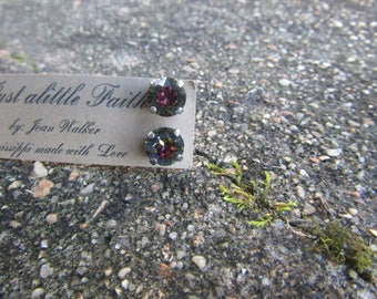 dark topaz swarovski crystal stud earrings 8mm