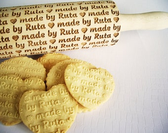 Embossed Rolling Pin Laser Engraved Rolling Pin Vizsla Roller for Cookies Small engraved rolling pin