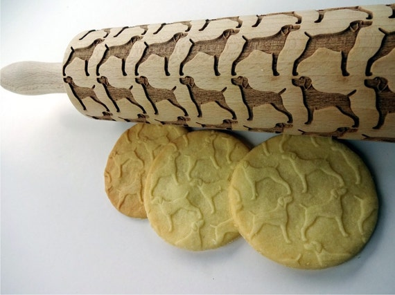 Weimaraner Embossing Rolling Pin with Dog Wooden Engraved Cookie Roller US