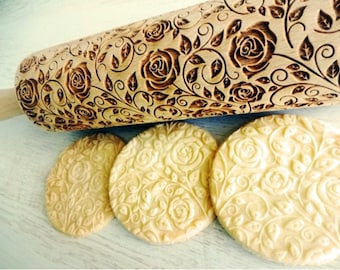Damascus Roses Embossing Rolling Pin. Flowers pattern. Engraved rolling pin with roses for embossed cookies. Blossom. Bloom. SummerPottery