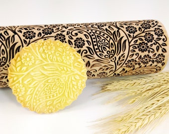 KASHMIR embossing Rolling Pin. Engraved dough roller for embossed cookies and Pottery by Algis Crafts