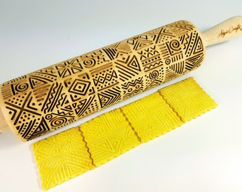 Tribal Embossing Rolling Pin. Engraved dough roller for embossed cookies and Pottery by Algis Crafts
