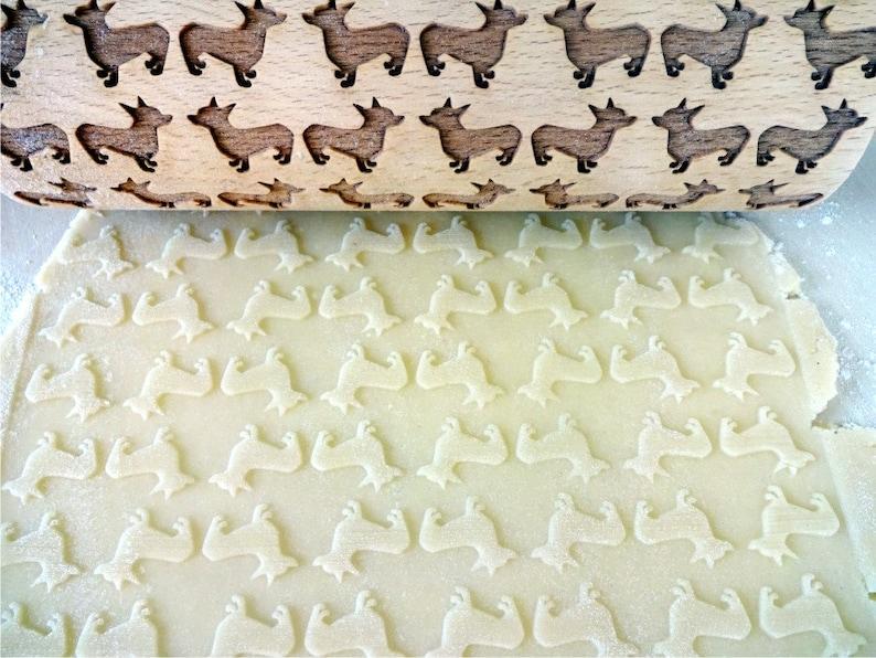 Pembroke Welsh Corgi Cardigan Engraved rolling pin for embossed cookies Welsh Corgi Dog CORGI DOG Embossing Rolling pin