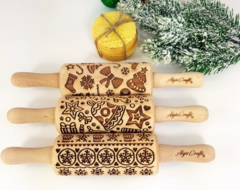 CHRISTMAS FUN 3 kids Rolling pin SET. Christmas tree. Snowflake. Winter. Star. Gingerbread. Children Rolling Pin for cookie, play dough