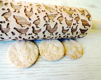 CHICKEN embossing rolling pin. Easter gift. Laser engraved rolling pin with chickens, hens, cocks