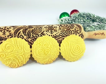 FROST Rolling pin. Embossing rolling pin with frost symbols. Christmas gingerbread cookies. Christmas tree, star, snowflake