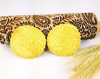 INDIAN embossing Rolling Pin. Engraved dough roller for embossed cookies and Pottery by Algis Crafts